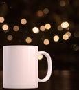 Christmas styled mockup mug, blank white coffee mug