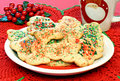 Christmas Sugar Cookies and Mug Royalty Free Stock Photography