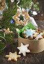 Christmas sugar cookies selective focus on tree Royalty Free Stock Images