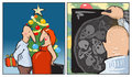 Christmas surprise it is a comic strip a couple on eve both hold gifts he has a box and she who is pregnant an ultrasound scan on Royalty Free Stock Image