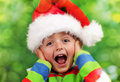 Christmas surprise excitement ecstatic young boy on morning Stock Image