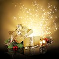 Christmas surprise gift box golden with glitters and stars Royalty Free Stock Image