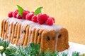 Christmas sweet fruit cake on golden and brilliant background Royalty Free Stock Photo