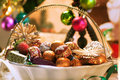Christmas sweets in a decorated vase Royalty Free Stock Photos