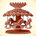 Christmas sweets toy horses chocolate carousel decorated Royalty Free Stock Photos
