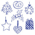 Christmas symbols doodles set Stock Photos