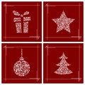 Christmas symbols made from small gift boxes Royalty Free Stock Images