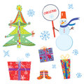 Christmas symbols set funny cartoon illustrations Stock Photography