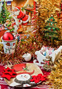 Christmas table arrangement Royalty Free Stock Image
