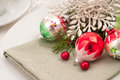 Christmas Table Closeup Horiztonal Royalty Free Stock Photos