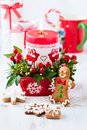 Christmas table decorated with candle Royalty Free Stock Photo