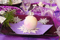 Christmas table decoration in purple  color Stock Photos
