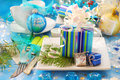 Christmas table with gift box decoration Stock Photos