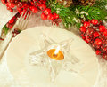 Christmas table layout, candlestick Royalty Free Stock Photography