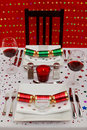 Christmas table place setting vertical Royalty Free Stock Photography