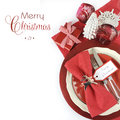 Christmas table place settings in red and white theme modern with merry sample text copy space for your text here Stock Photos