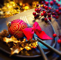 Christmas table setting and new year holiday celebration Royalty Free Stock Photo