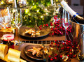 Christmas table setting and new year holiday celebration Stock Photography