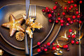Christmas table setting and new year holiday celebration Stock Image