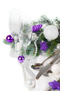 Christmas table setting in purple tones festive decoration with fir branches balls on a white background isolated Royalty Free Stock Image