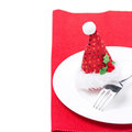 Christmas table setting on a red napkin isolated Royalty Free Stock Photos