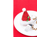 Christmas table setting on a red napkin isolated white Stock Photos