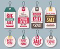 Christmas tags vector template set and price tags in white paper with sale text Royalty Free Stock Photo
