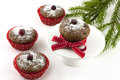 Christmas tasty muffins in paper form sweet with decoration Stock Images