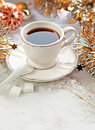 Christmas tea cup of with decor Stock Photo