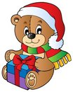 Christmas teddy bear with gift Royalty Free Stock Images