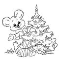Christmas teddy bear tree ornaments gift colorin coloring page illustration cartoon Royalty Free Stock Images
