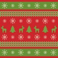 Christmas texture with reindeers, xmas trees and snowflakes. Bright Christmas wrapping paper in traditional colors. Winter design Royalty Free Stock Photo