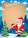 Christmas thematic parchment 1 Royalty Free Stock Image