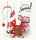 Christmas theme, abstract christmas tree, stack of cookies with red ribbon and candy canes in glass jar, illustration