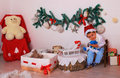 Christmas theme children s corner and a boy in it Stock Photo