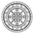 Christmas theme. Doodle snowflake on ethnic circle ornament. Hand drawn art winter mandala. Royalty Free Stock Photo