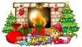 Christmas theme with elf and toys by fireplace Royalty Free Stock Photo