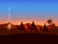 Christmas theme with three wise men and shining star Royalty Free Stock Photo