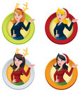 Christmas Themed Business Woman Web Buttons Stock Photography