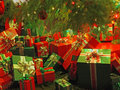 Christmas-themed wrapped gift boxes Royalty Free Stock Photography