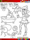 Christmas themes coloring page book cartoon illustration of black and white set with santa claus and pretty girl Royalty Free Stock Photography