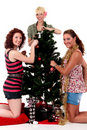 Christmas,three young happy women Stock Photo