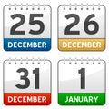 Christmas Time Calendar Icons Royalty Free Stock Photo