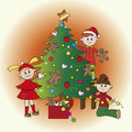 Christmas time children decorate the tree Stock Photography