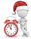 Christmas time dude the santa claus pointing at red clock at to Stock Images