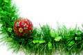 Christmas Time: Isolated Tinsel and Bauble Royalty Free Stock Photos