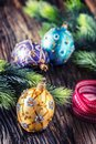 Christmas Time. Luxury golden purple blue christmas ball and decoration.Red ribbon with text happy christmas Royalty Free Stock Photo
