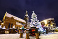 Christmas time in old riga latvia market at dome square at winter night Royalty Free Stock Images