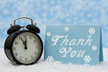 Christmas is a time to be thankful an alarm clock with thank you card Stock Photos