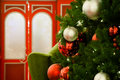Christmas time tree and festive decor of red green and white Stock Photography